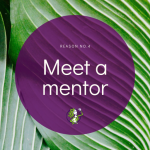 'Meet a mentor' text in purple circle textbox with photo of green leaves as background.